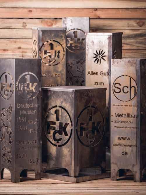 Auch Logos und filigrane Schriften lassen sich mit dem Wasserstrahlschneiden umsetzen.